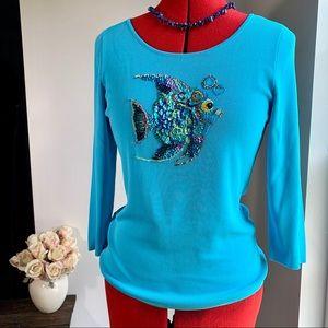 BOB MACKIE Blue Knit Multi Colored Sequin Fish Top